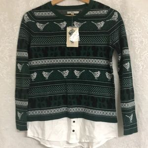 Bass Sweater Forest Combo XS New NWT Green Black